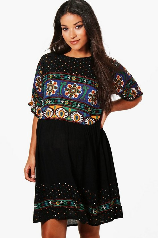 Maternity Retro Print Smock Dress