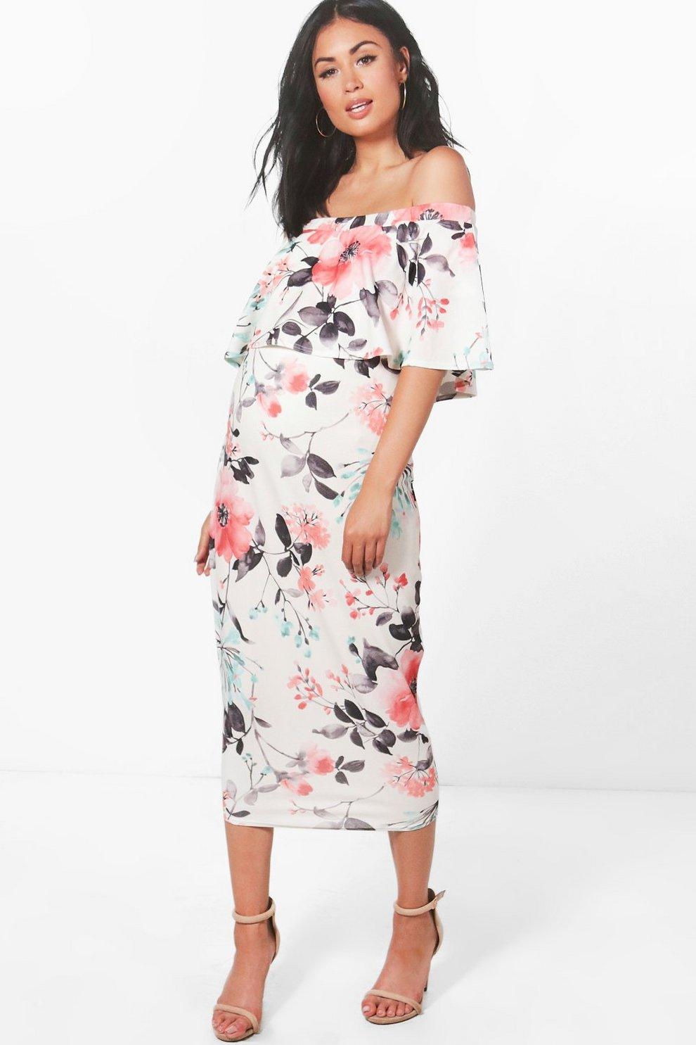 abf7a7484eea7 Womens Multi Maternity Chrissy Off The Shoulder Ruffle Midi Dress