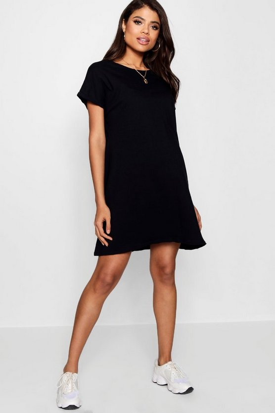 Womens Black Maternity  Oversized Roll Up T-Shirt Dress