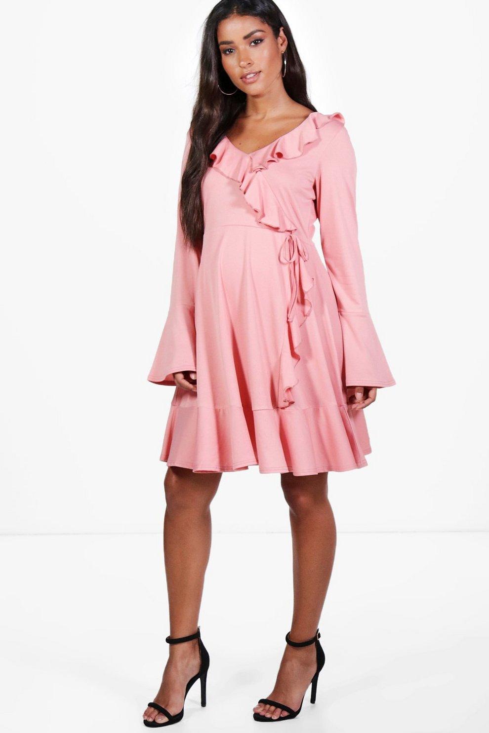 f9a9129d087b2 Maternity Esther Long Sleeve Frill Wrap Dress | Boohoo