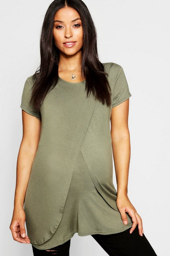 Womens Khaki Maternity  Nursing Cap Sleeve Tee