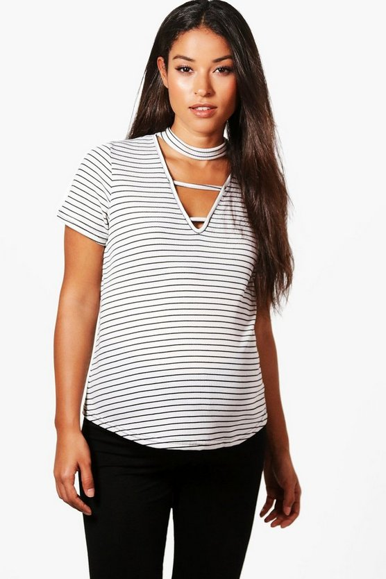 Maternity Grace Strappy Front Stripe Tee