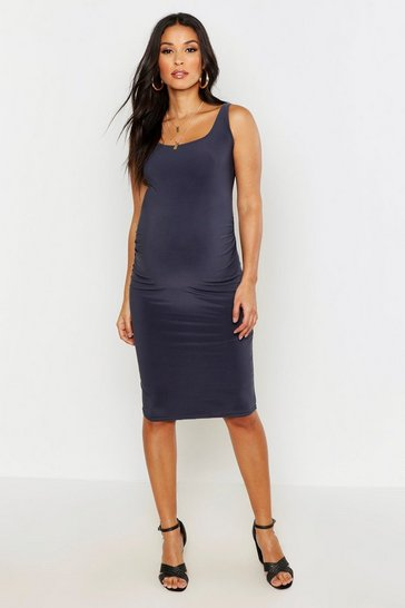 Charcoal Maternity Bodycon Dress