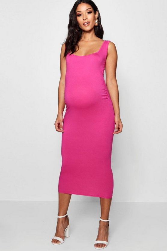 Womens Fuchsia Maternity Bodycon Dress
