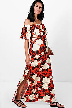 Maternity  Off The Shoulder Printed Maxi Dress