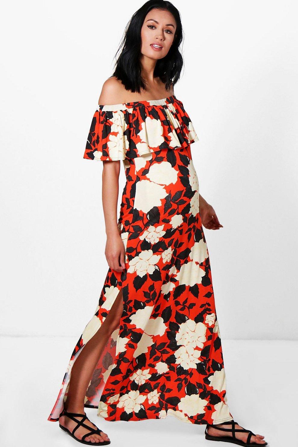 609b147954434 Maternity Off The Shoulder Printed Maxi Dress | Boohoo