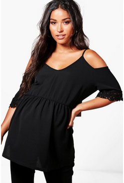 Womens Black Maternity  Open Shoulder Crochet Lace Top