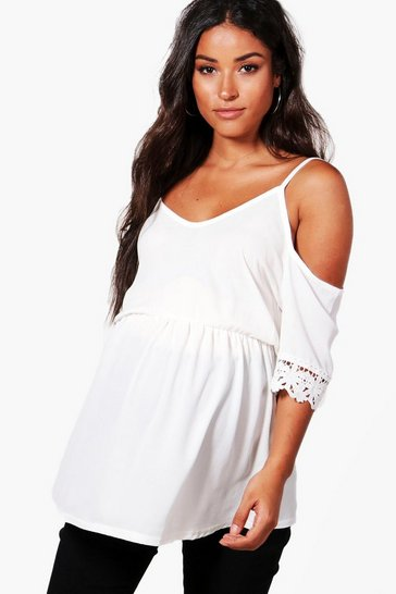 Womens Ivory Maternity  Open Shoulder Crochet Lace Top