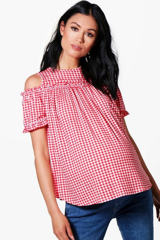 Maternity Maria Gingham Cold Shoulder Ruffle Top