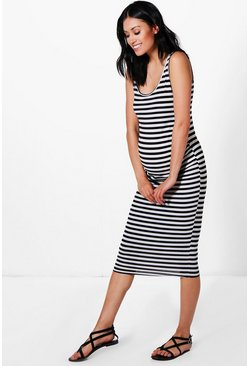 Womens Multi Maternity  Stripe Strappy Midi Bodycon Dress