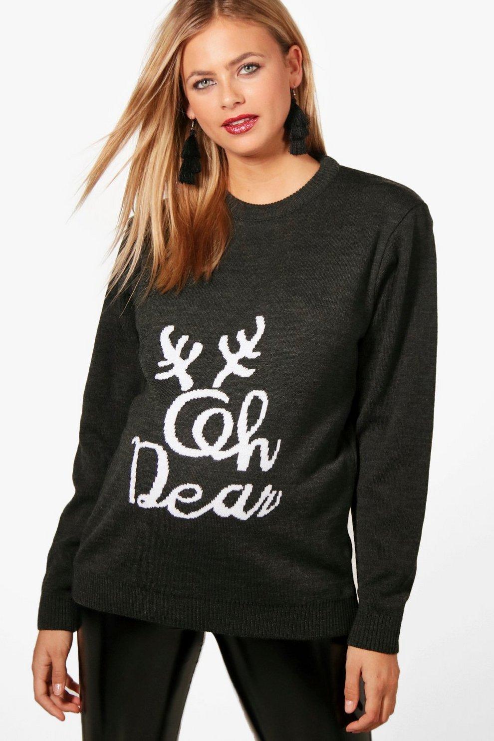 Maternity Louise Oh Deer Christmas Jumper | Boohoo