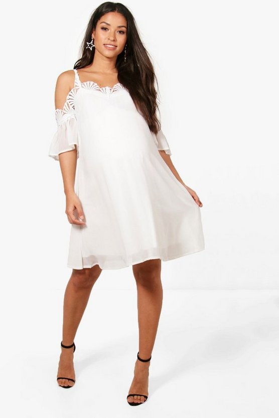 Ivory Maternity Sofia Real Mermaid Cold Shoulder Dress