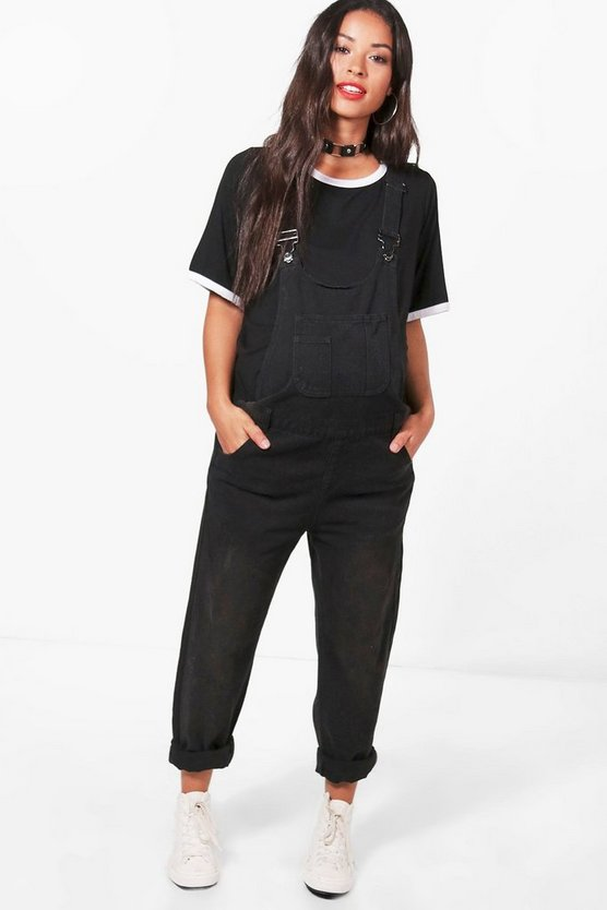 Womens Black Maternity Anna Denim Dungaree
