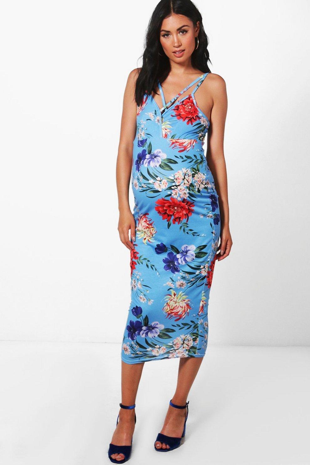 45db5bd7bb163 Boohoo Maternity Floral Print Cold Shoulder Midi Dress