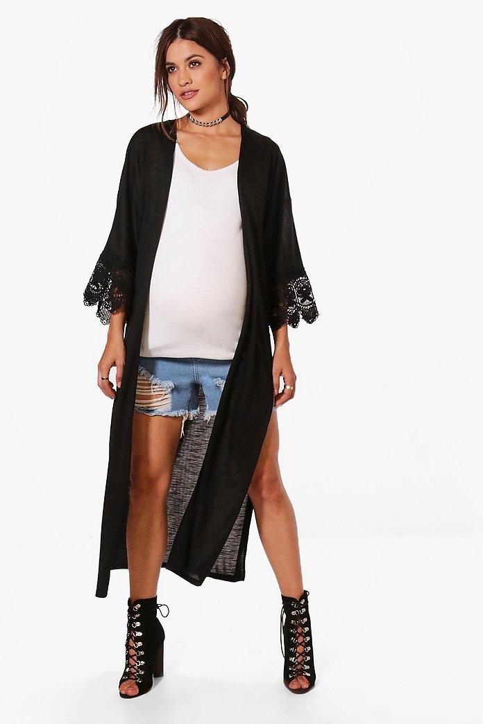 416194a38a3a8 Maternity Sarah Crochet Lace Maxi Kimono | Boohoo