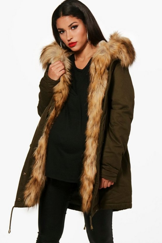 Womens Khaki Maternity Faux Fur Trim Parka