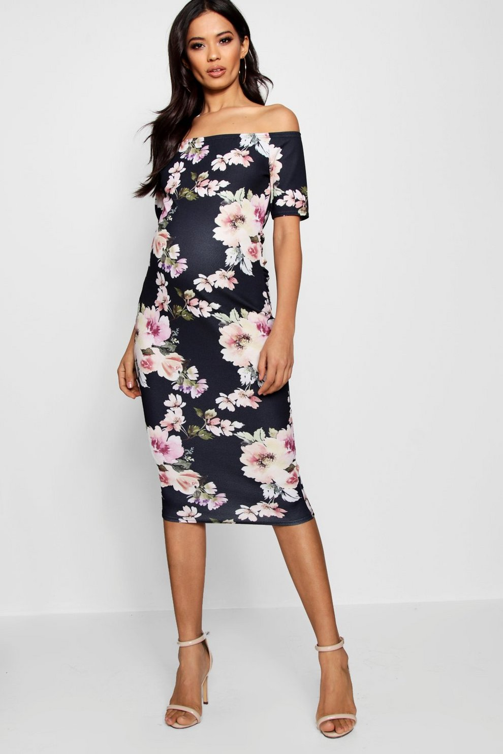 2100fa4a64bd3 Maternity Bardot Dress With Half Sleeve | Boohoo