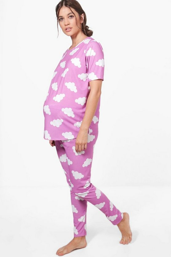 Maternity Lacey Cloud Print PJ Set