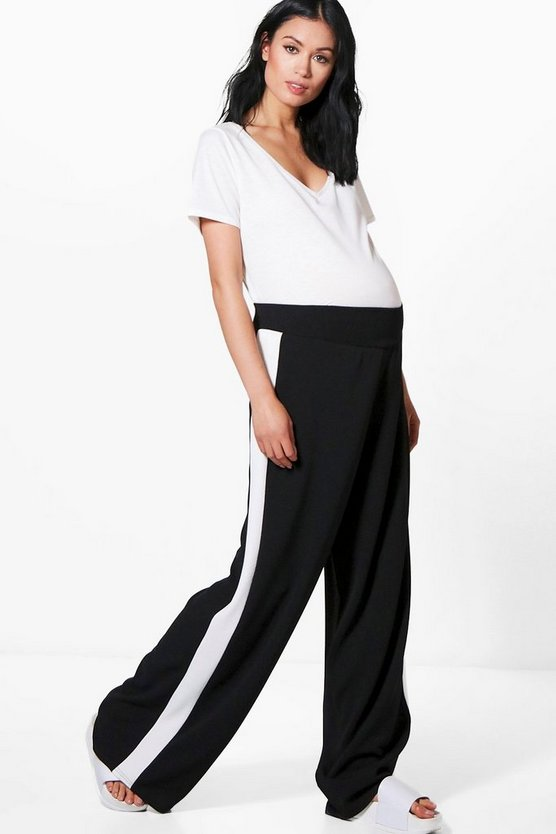 Maternity Liza Side Stripe Wide Leg Trouser