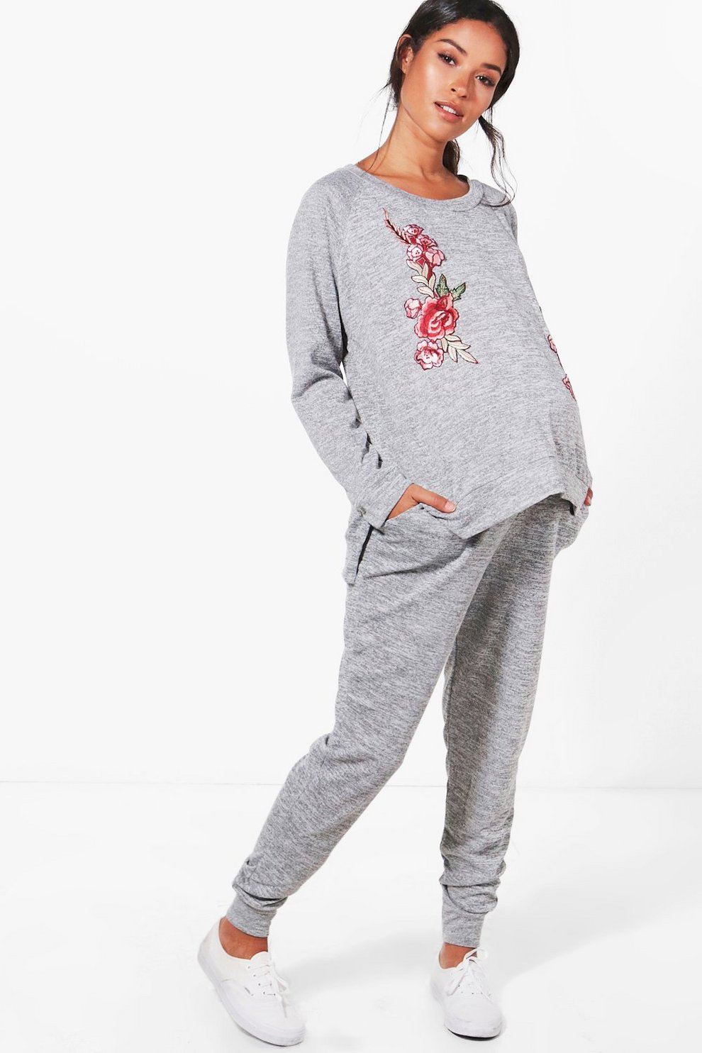 dd2eb6eae73fa Maternity Laura Embroidered Applique Loungewear Set | Boohoo