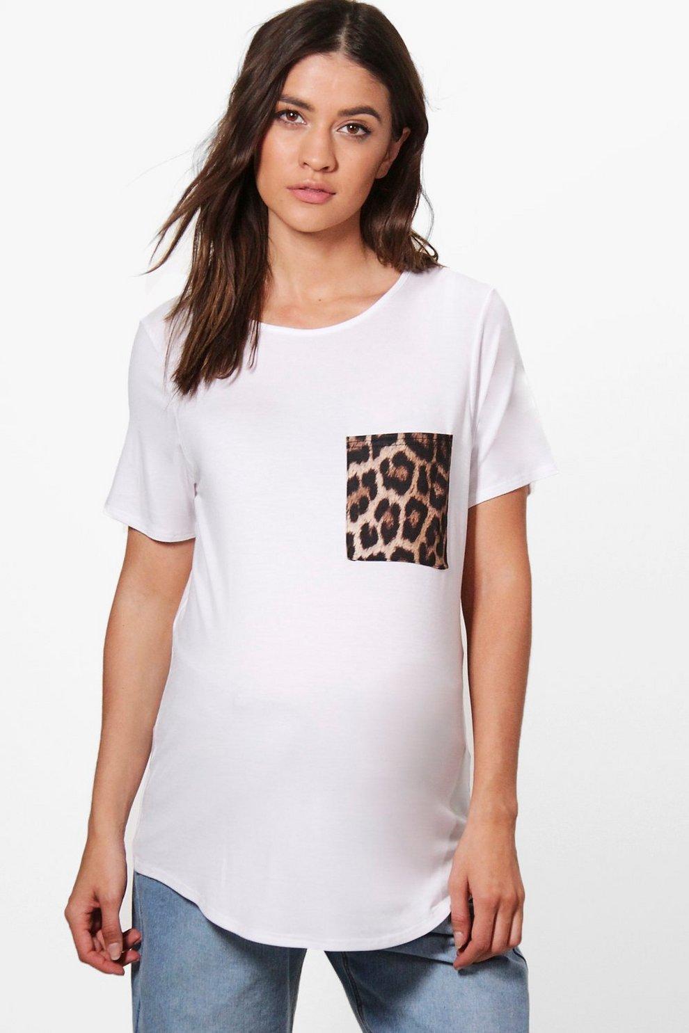 0efbd1e77dd Maternity Sophia Leopard Pocket Tee
