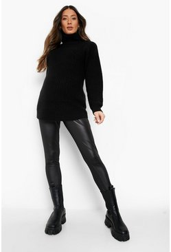 Womens Black Maternity  Leather Look Over The Bump Legging