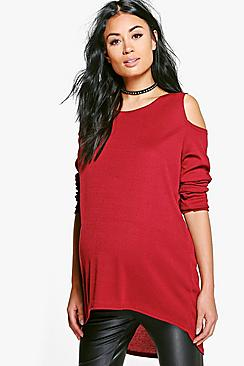 Maternity Open Shoulder Ribbed Sweater