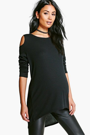 Womens Black Maternity  Open Shoulder Ribbed Jumper