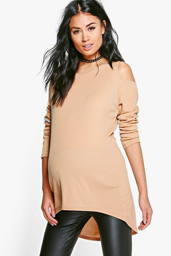 Maternity  Open Shoulder Ribbed Jumper