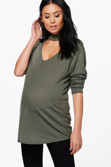 Womens Khaki Maternity Ava Choker Ribbed Jumper