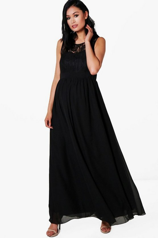 Maternity Lace Bodice Occasion Maxi Dress