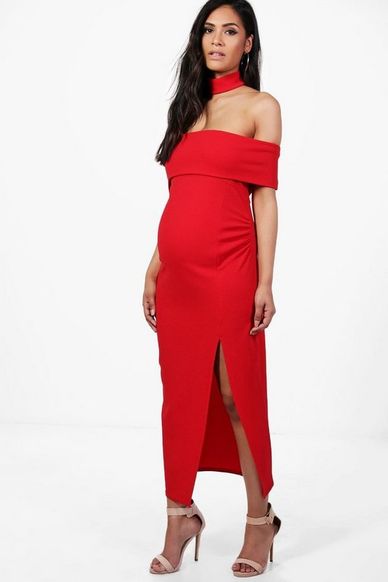 Maternity Choker Off Shoulder Midi Dress