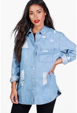 Womens Blue Maternity Ultra Distressed Oversized Denim Shirt