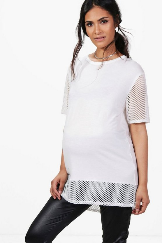 Maternity Eleanor Oversized Mesh T-Shirt