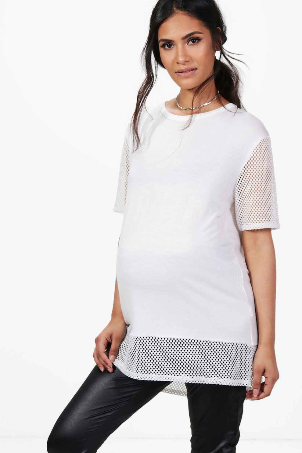 ba8e7613703 Womens White Maternity Eleanor Oversized Mesh T-Shirt