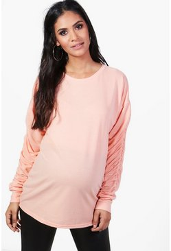 Womens Peach Maternity Evie Ruched Sleeve Sweat Top