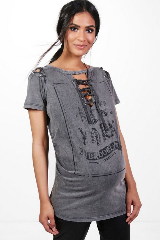 Maternity Ella Acid Wash Printed Lace Up Tee