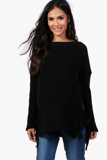 Womens Black Maternity  Tie Side Jumper