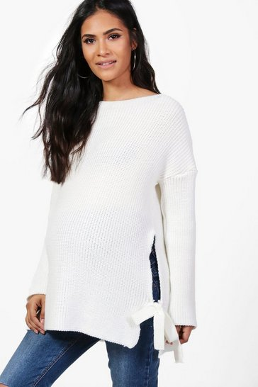 Womens Ivory Maternity  Tie Side Jumper