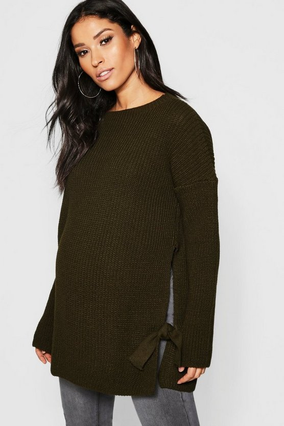 Womens Khaki Maternity Tie Side Sweater