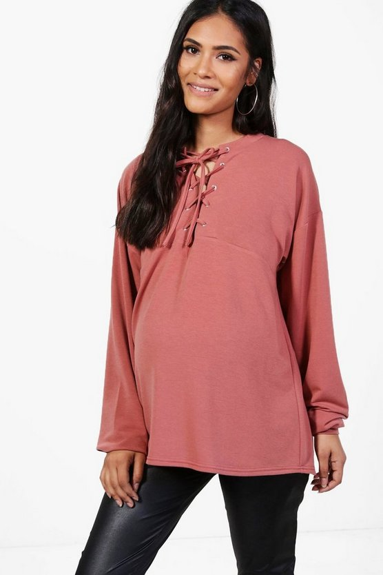 Maternity Hazel Lace Up Sweat Top
