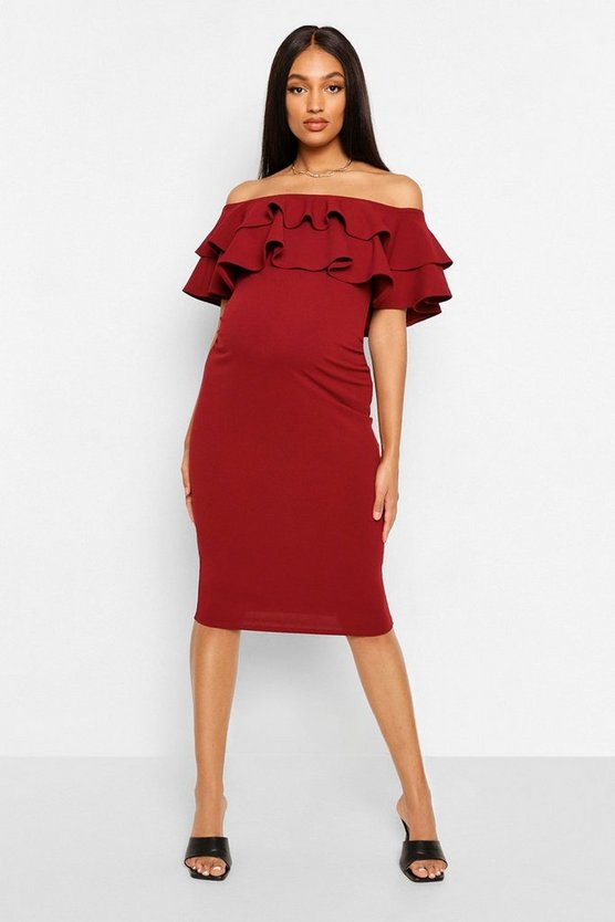 Womens Berry Maternity  Ruffle Off The Shoulder Midi Dress