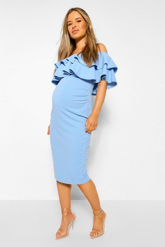 Womens Bluebell Maternity  Ruffle Off The Shoulder Midi Dress