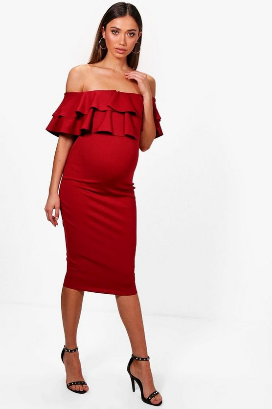 Maternity  Ruffle Off The Shoulder Midi Dress