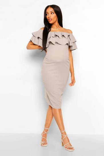 Grey Maternity  Ruffle Off The Shoulder Midi Dress