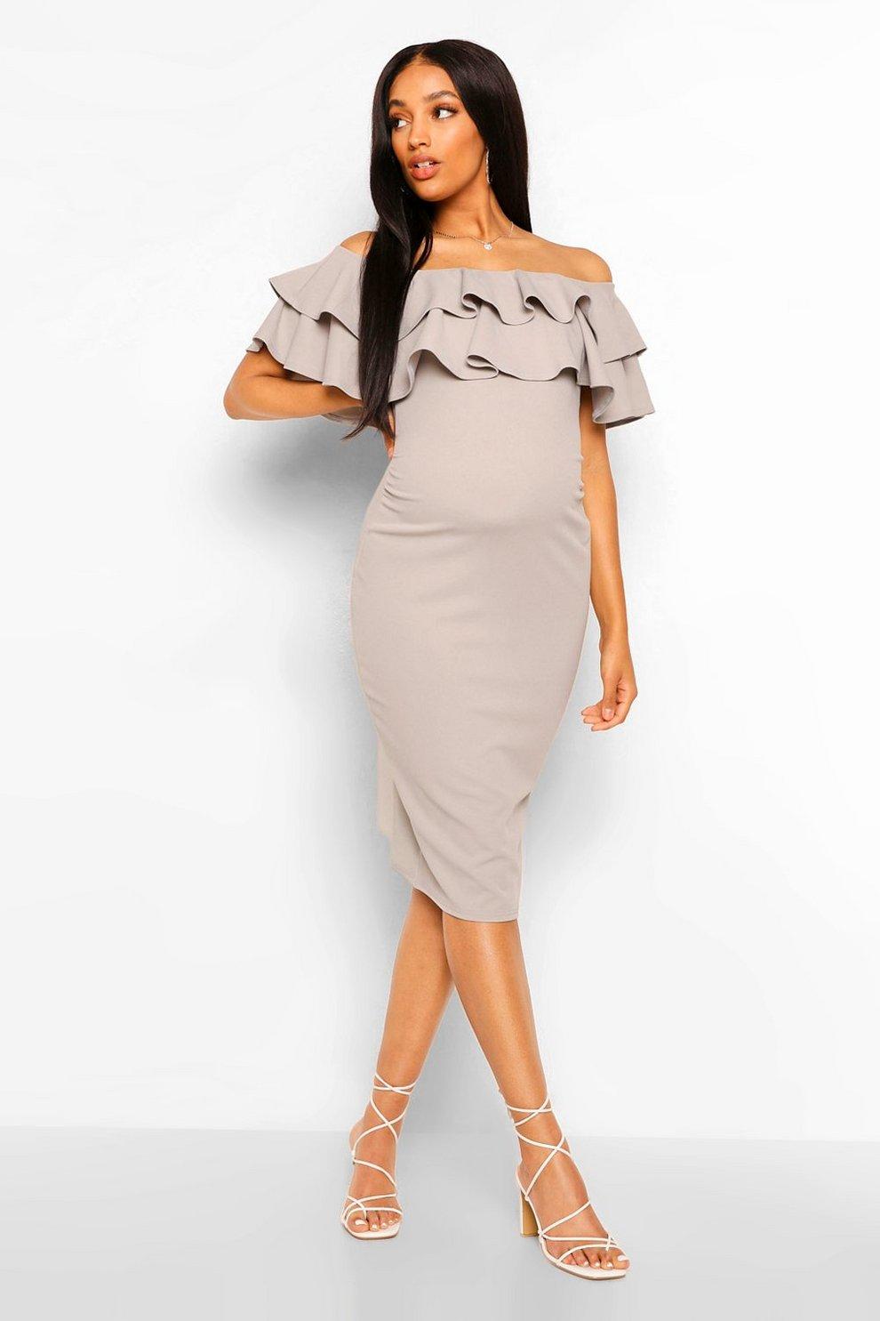 83f486eb74a Womens Grey Maternity Ruffle Off The Shoulder Midi Dress