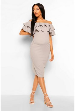 Womens Grey Maternity  Ruffle Off The Shoulder Midi Dress
