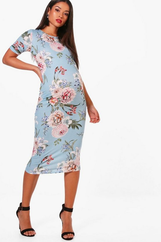 Womens Blue Maternity  Floral Print Midi Dress