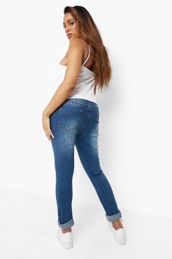 Maternity  Over The Bump Distressed Knee Skinny Jeans