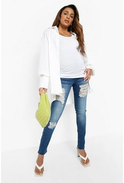 Womens Blue Maternity  Rip Skinny Over The Bump Jean